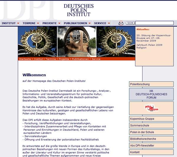DPI, Deutsches Polen-Institut, Screenshot