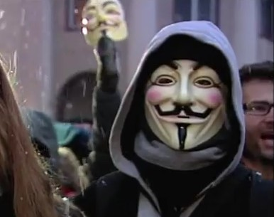 Guy Fawkes Maske, Symbol der Demonstranten in Europa