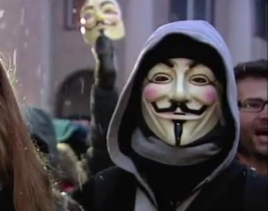 Guy Fawkes Maske, Symbol der Demonstranten in Europa
