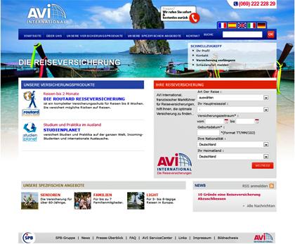 Maßgeschneiderte Auslandsreiseversicherungen mit AVI International - Screenshot