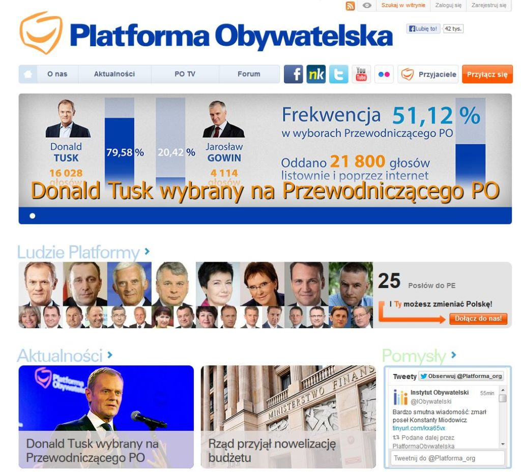 Internetseite der Bürgerplattform PO verkündet Sieg Tusks, Foto: www.platforma.org
