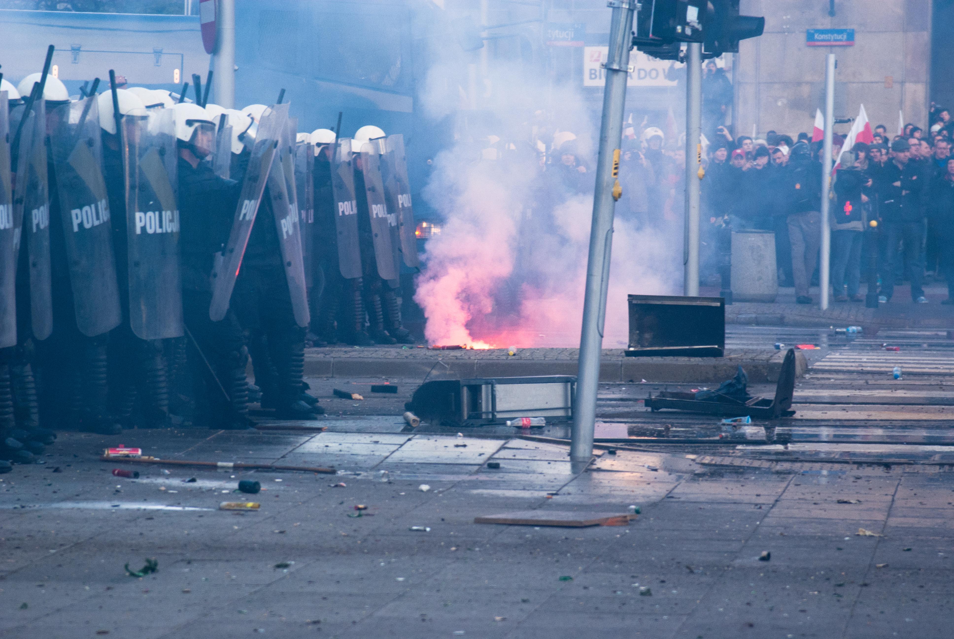 Voller Konfliktpotenzial: Warschauer Unabhängigkeitsmarsch, Foto: Adam Kliczek / Wikipedia, licence: CC-BY-SA-3.0