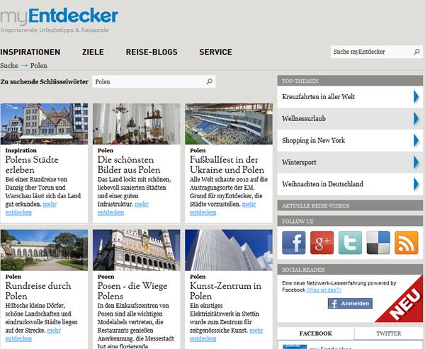 Reiseportal myentdecker.de, Polen-Seite, Foto: Screenshot