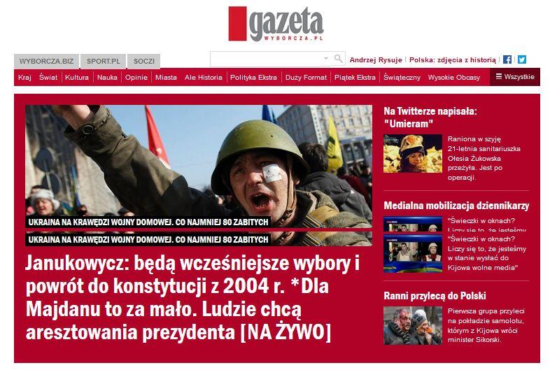 Gazeta Wyborcza über die Ukraine , Foto: Screenshot www.wyborcza.pl