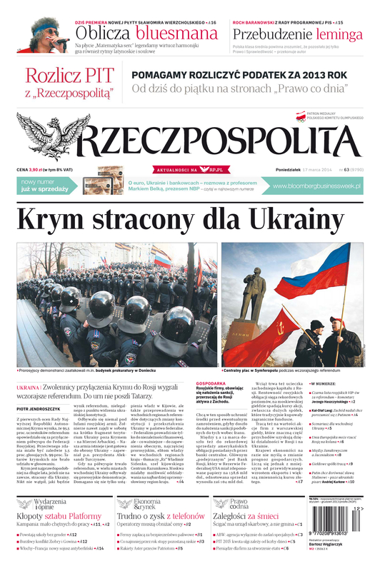 Krim für die Ukraine verloren, Foto: Reczpospolita, Titel-Screenshot, www.rp.pl