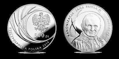 500-Zloty-Gedenkmünzen zur Heiligsprechung, Foto: NBP Polen