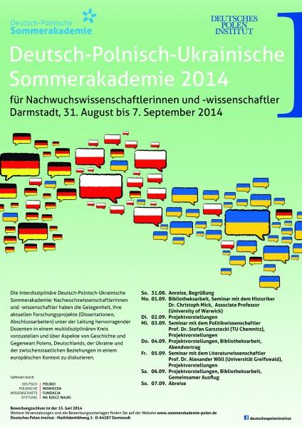 Deutsch-Polnisch-Ukrainische Sommerakademie 2014; Plakat DPI