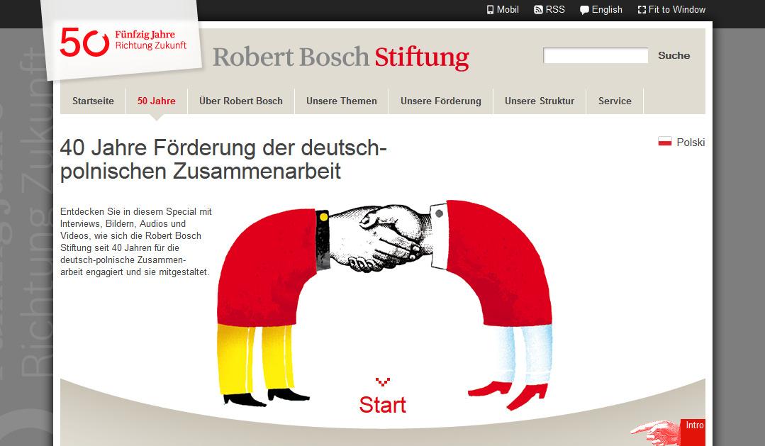 Webseiten-Special Polen der Robert Bosch Stiftung: Screenshot Robert Bosch Stiftung
