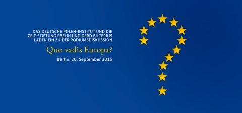 """Podiumsdiskussion """"Quao vadis Europa"""", Logo der Veranstaltung, © deutsches-polen-institut.de"""
