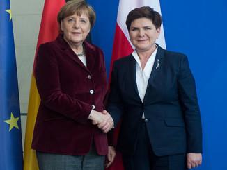 Bundeskanzlerin Angela Merkel zu Gesprächen in Warschau, Polen,Foto: Kanzlei der Ministerpräsidentin KPRM, public domain